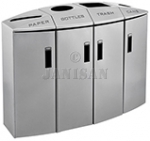 "Rubbermaid 3486042 Element 4-Stream Paper/Bottles/Trash/Cans Non-Locking Recycling Station - 57 Gallon Capacity - 48 1/2"" L x 18 1/2"" W x 37 1/8"" H - Silver Metallic in Color"