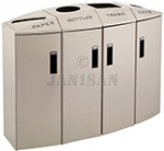 "Rubbermaid 3486048 Element 4-Stream Paper/Bottles/Trash/Cans Non-Locking Recycling Station - 57 Gallon Capacity - 48 1/2"" L x 18 1/2"" W x 37 1/8"" H - Desert Pearl in Color"