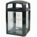 "United Receptacle 3975-89 Landmark Series Security Container with Lock and Clear Panels - 26"" Sq. x 46.5"" H - 50 Gallon Capacity"
