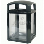 "United Receptacle 3975-89 Landmark Series Security Container with Lock and Clear Panels - 26"" Sq. x 46.5\"" H - 50 Gallon Capacity"