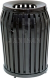 "United Receptacle MSD36 Side Door Americana Series Trash Can - 36 Gallon Capacity - 25"" Dia. x 32.5"" H - Disposal Opening is 11"" Dia."