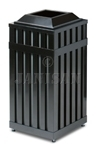 "United Receptacle MHSQ18 Avenue Series Square Open Top Trash Can - 16 Gallon Capacity - 16"" Sq. x 32.5"" H - Disposal Opening is 8"" Sq."