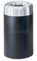 "United Receptacle AOT30SABK Crowne Collecton Small Open Top Trash Receptacle - 30-Gallon Capacity - 20"" Dia. x 34.5\"" H - 12\"" Dia. Disposal Opening - Black body with Satin Aluminum Top"