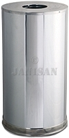 "Rubbermaid 9066 Metallic Designer Line Open Top Waste Receptacle - 15 Gallon Capacity - 15"" Dia. x 28\"" H - Mirror Chrome"