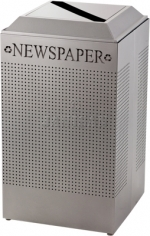 United Receptacle DCR24PSM Silhouette Recycling Receptacle - Newspaper - 29 Gallon Capacity - Silver Metallic