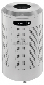 United Receptacle DRR24TSM Round Silhouette Recycling Receptacle - Trash - 26 Gallon Capacity - Silver Metallic