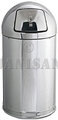 "United Receptacle R1530MC Metallic Designer Line Bullet Trash Can - 12 Gallon Capacity - 15"" Dia. x 30"" H - Disposal Opening is 8"" W x 7"" H - Mirror Chrome"