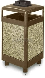 "United Receptacle R36HTWU Aspen Series Waste Receptacle with Hinged Top and Weather Urn - 29 Gallon Capacity - 21"" Sq. x 46\"" H"