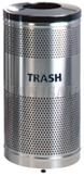 "United Receptacle Howard Classic S3SST-BK Stainless Steel/Black Powder Coat Top Perforated Steel Waste Receptacle - 25 gallon capacity - 18"" Dia. x 35.5"" H"