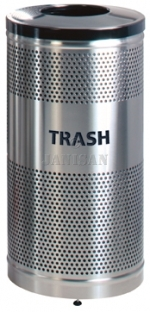 "United Receptacle Howard Classic S3SST-BK Stainless Steel/Black Powder Coat Top Perforated Steel Waste Receptacle - 25 gallon capacity - 18"" Dia. x 35.5\"" H"