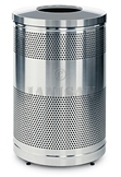 "United Receptacle Howard Classic S55SST-SS Stainless Steel Perforated Steel Waste Receptacle - 51 gallon capacity - 25"" Dia. x 47"" H"