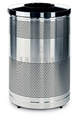 "United Receptacle Howard Classic S55SST-BK Stainless Steel/Black Powder Coat Top Perforated Steel Waste Receptacle - 51 gallon capacity - 25"" Dia. x 47"" H"