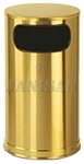 "United Receptacle SO16SBS Waste Receptacle - 12 Gallon - 15"" Dia. x 28"" H - Satin Brass Stainless Steel"