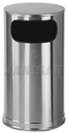 "United Receptacle SO16SSS Waste Receptacle - 12 Gallon - 15"" Dia. x 28"" H - Satin Stainless Steel"