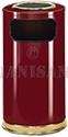 "United Receptacle SO16SU-10C European Designer Line Ash / Trash Can - 15 Gallon Capacity - 15"" Dia. x 36"" H - Disposal Opening is 8"" W x 7"" H - Crimson Body with Brass Accents"