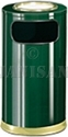 "United Receptacle SO16SU-10G European Designer Line Ash / Trash Can - 15 Gallon Capacity - 15"" Dia. x 36"" H - Disposal Opening is 8"" W x 7"" H - Empire Green with Brass Accents"
