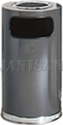"United Receptacle SO16SU-20A European Designer Line Ash / Trash Can - 15 Gallon Capacity - 15"" Dia. x 36"" H - Disposal Opening is 8"" W x 7"" H - Anthracite Body with Chrome Accents"