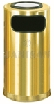 "United Receptacle SO16SUSBS Ash/Trash Waste Receptacle - 12 Gallon - 15"" Dia. x 28"" H - Satin Brass Stainless Steel"