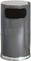 "United Receptacle SO16-20A European Designer Line Waste Receptacle - 12 Gallon Capacity - 15"" Dia. x 28"" H - Disposal Opening is 5.5"" Dia. - Anthracite with Mirror Chrome Accents"