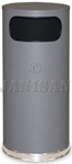 "United Receptacle SO17SCGR Crowne Collection Waste Receptacle - 15 Gallon Capacity - 15"" Dia. x 33.5"" H - Disposal Opening is 11"" W x 5"" H - Gray Body with Chrome Accents"
