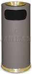 "United Receptacle SO17SUSBBR Crowne Collection Waste Receptacle - 15 Gallon Capacity - 15"" Dia. x 33.5"" H - Disposal Opening is 11"" W x 5"" H - Brown Textured Base with Brass Accents"