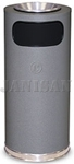 "United Receptacle SO17SUSCGR Crowne Collection Waste Receptacle - 15 Gallon Capacity - 15"" Dia. x 33.5"" H - Disposal Opening is 11"" W x 5"" H - Gray Textured Base with Chrome Accents"