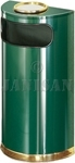 "United Receptacle SO8SU-10G European Designer Line Half Round Ash/Trash Receptacle - Empire Green with Mirror Brass - 9 Gallon Capacity - 18"" W x 32"" H x 9"" D - Disposal Opening is 15"" W x 5"" H"