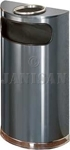 "United Receptacle SO8SU-20A European Designer Line Half Round Ash/Trash Receptacle - Anthracite with Mirror Chrome - 9 Gallon Capacity - 18"" W x 32"" H x 9"" D - Dispsoal Opening is 15"" W x 5"" H"