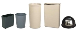 United Receptacle Fire-Safe, FM Approved, UL Listed, Self-Extinguishing Wastebaskets and Covers