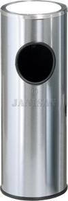 "United Receptacle 1100SSS - Metallic Designer Line Sand Top Ash / Trash - 3.5 Gallon - 10"" Dia. x 27\"" H - Satin Stainless Steel"