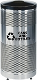 "United Receptacle Howard Classic S3SSG-BK 5"" Diameter Recycling Open Top - Stainless Steel Body / Black Top - Perforated Steel Waste Receptacle - 25 gallon capacity - 18"" Dia. x 35.5"" H"