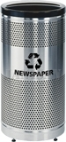 "United Receptacle Howard Classic S3SSP-BK Paper Recycling Stainless Steel/Black Perforated Steel Waste Receptacle - 25 gallon capacity - 18"" Dia. x 35.5"" H"