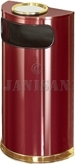 "United Receptacle SO8SU-10C European Designer Line Half Round Ash/Trash Receptacle - Crimson with Mirror Brass - 9 Gallon Capacity - 18"" W x 32"" H x 9"" D - Disposal Opening is 15"" W x 5"" H"