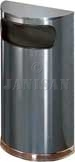 "United Receptacle SO8-20A European Designer Line Half Round Waste Receptacle - Anthracite with Mirror Chrome - 9 Gallon Capacity - 18"" W x 32"" H x 9"" D - Disposal Opening is 15"" W x 5"" H"