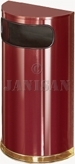 "United Receptacle SO8-10C European Designer Line Half Round Waste Receptacle - Crimson with Mirror Brass - 9 Gallon Capacity - 18"" W x 32"" H x 9"" D - Disposal Opening is 15"" W x 5"" H"