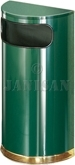 "United Receptacle SO8-10G European Designer Line Half Round Waste Receptacle - Empire Green with Mirror Brass - 9 Gallon Capacity - 18"" W x 32"" H x 9"" D - Disposal Opening is 15"" W x 5"" H"