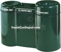 "FGR5220PL Three Section Recycling Center - 21 Gallon Capacity - 52"" W x 37.5"" H x 20"" D - 4"" Dia. Can Disposal Opening - 12.5"" L x 2"" W Paper Disposal Opening - 8"" Dia. Trash Disposal Opening"