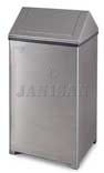"United Receptacle T1940SS Large Wastemaster Swing Top Trash Can - 40 Gallon Capacity - 19"" Sq. x 38"" H - Stainless Steel"